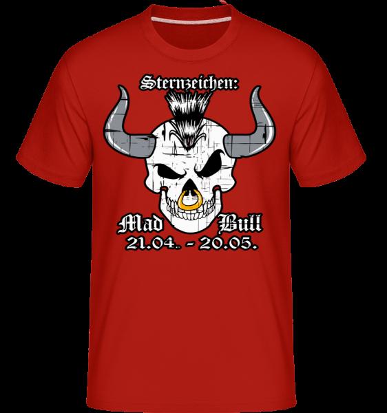 Metal Sternzeichen Mad Bull - Shirtinator Männer T-Shirt - Rot - Vorn