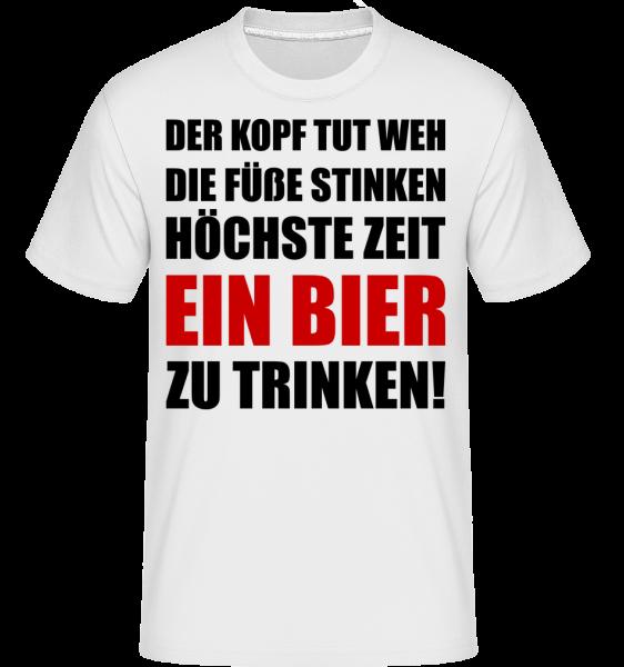 Kopf Tut Weh Bier Trinken - Shirtinator Männer T-Shirt - Weiß - Vorn