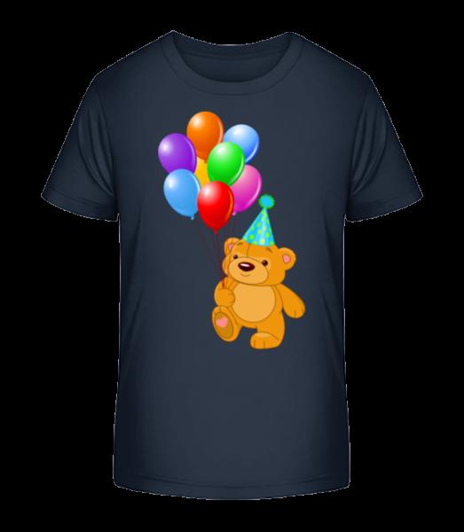 Bear with Balloons - Kid's Premium Bio T-Shirt - Navy - Front
