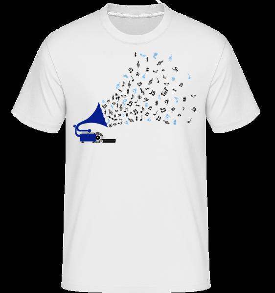 Musiknoten Grammofon - Shirtinator Männer T-Shirt - Weiß - Vorn