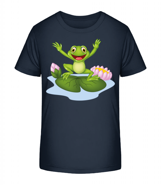 Frog On Water Lily - Kid's Premium Bio T-Shirt - Navy - Front