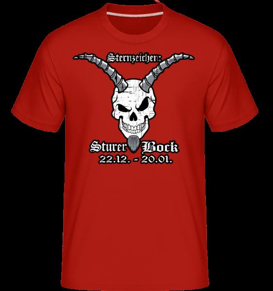 Metal Sternzeichen Sturer Bock - Shirtinator Männer T-Shirt - Rot - Vorn