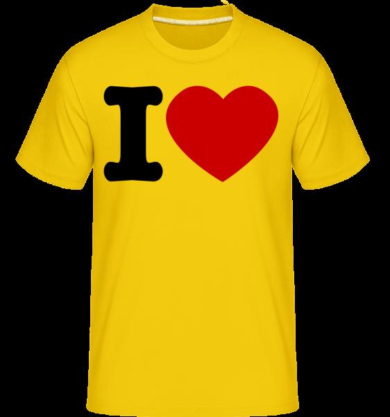 I Love Hearth -  Shirtinator Men's T-Shirt - Golden yellow - Vorn