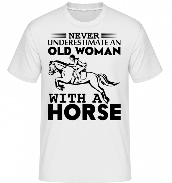 Old Woman With Horse -  Shirtinator Men's T-Shirt - White - Vorn