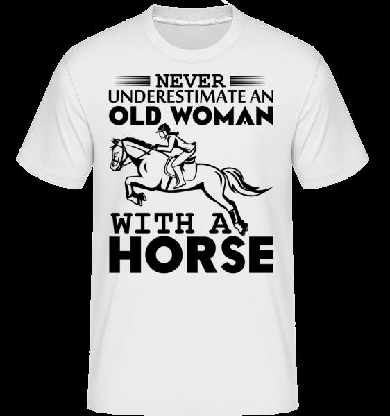 Old Woman With Horse - Shirtinator Männer T-Shirt - Weiß - Vorn