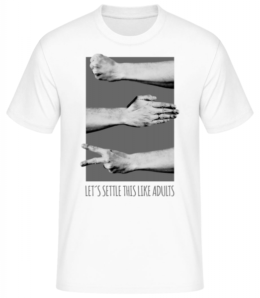 Let's Settle This Like Adults - Basic T-Shirt - Weiß - Vorn