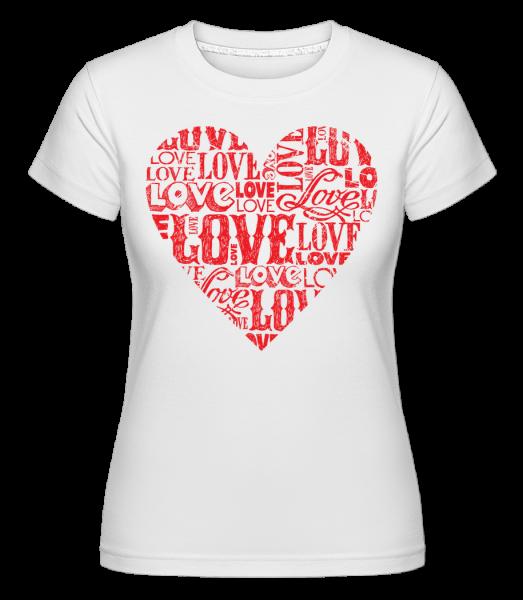 Love Heart Red -  Shirtinator Women's T-Shirt - White - Vorn