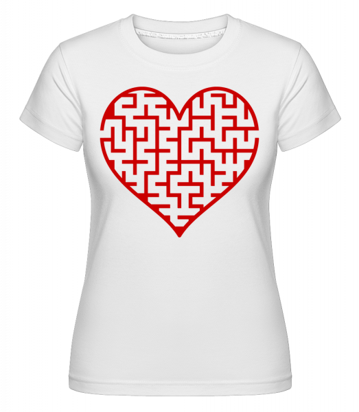 Heart Maze Red - Shirtinator Frauen T-Shirt - Weiß - Vorn