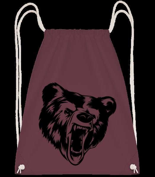 Wild Bear Icon - Drawstring Backpack - Bordeaux - Vorn
