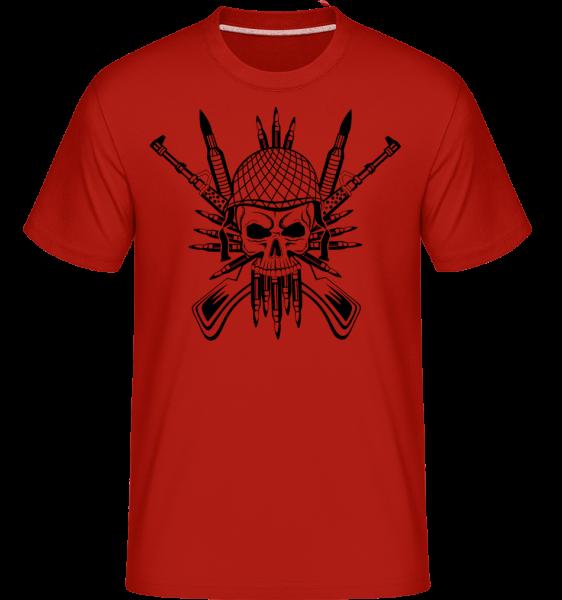 Soldat Totenschädel Tattoo - Shirtinator Männer T-Shirt - Rot - Vorn
