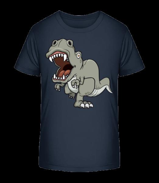 Dinosaur Comic Grey - Kinder Premium Bio T-Shirt - Marine - Vorn