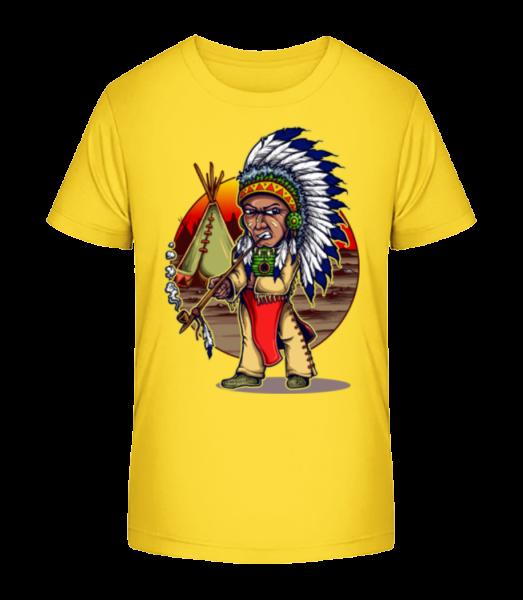Smoking Indian - Kid's Premium Bio T-Shirt - Yellow - Front