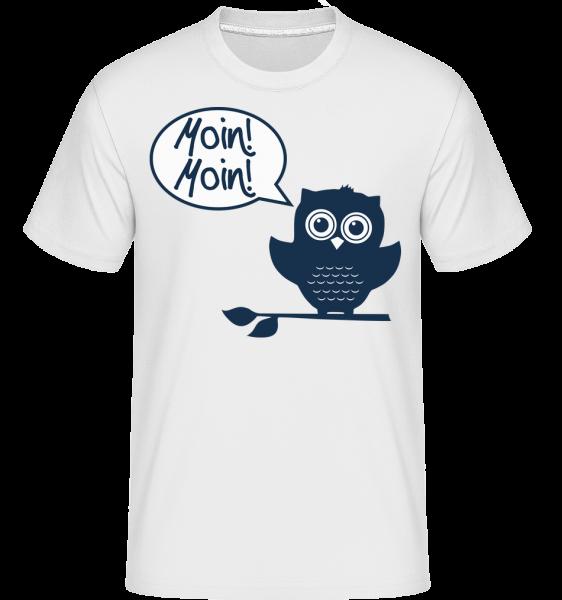 Moin, Moin! - Eule - Shirtinator Männer T-Shirt - Weiß - Vorn