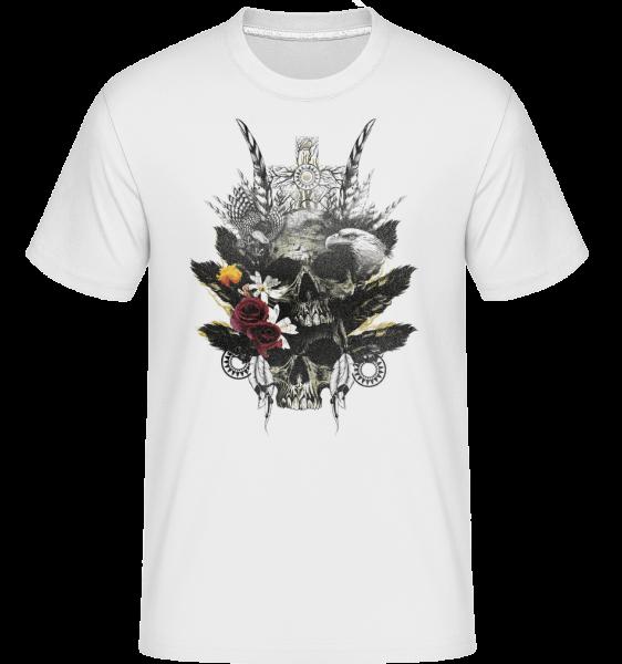 Feder Totenköpfe - Shirtinator Männer T-Shirt - Weiß - Vorn