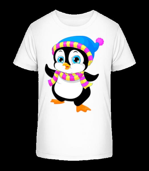 Pinguin Mit Schal - Kinder Premium Bio T-Shirt - Weiß - Vorn
