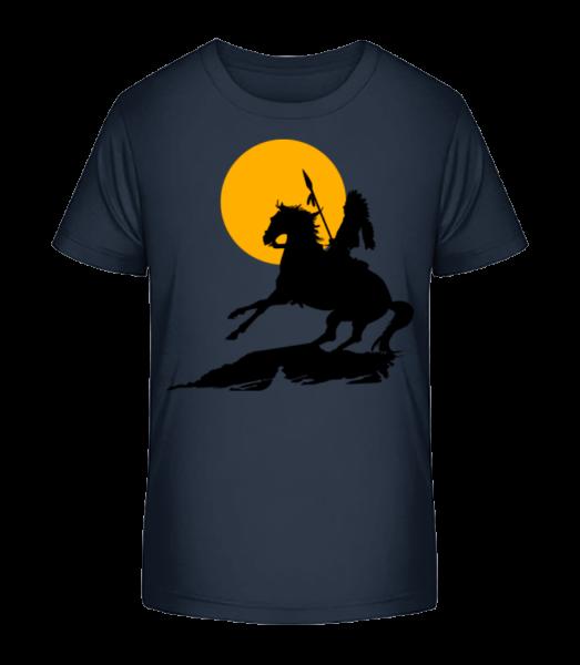 Knight Silhouette Sunset - Kid's Premium Bio T-Shirt - Navy - Front