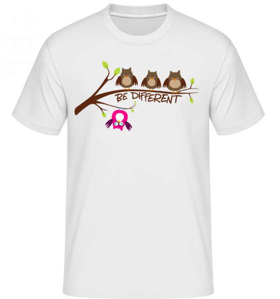 Be Different Owls - Shirtinator Männer T-Shirt - Weiß - Vorn