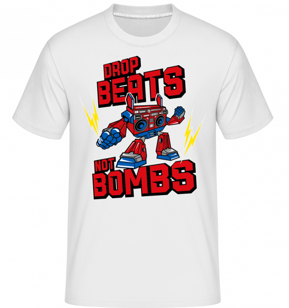 Boombox Robot -  Shirtinator Men's T-Shirt - White - Front