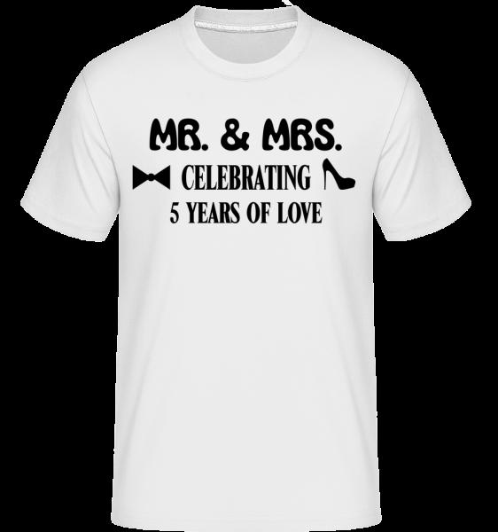 Mr. & Mrs. 5 Years Of Love -  Shirtinator Men's T-Shirt - White - Vorn