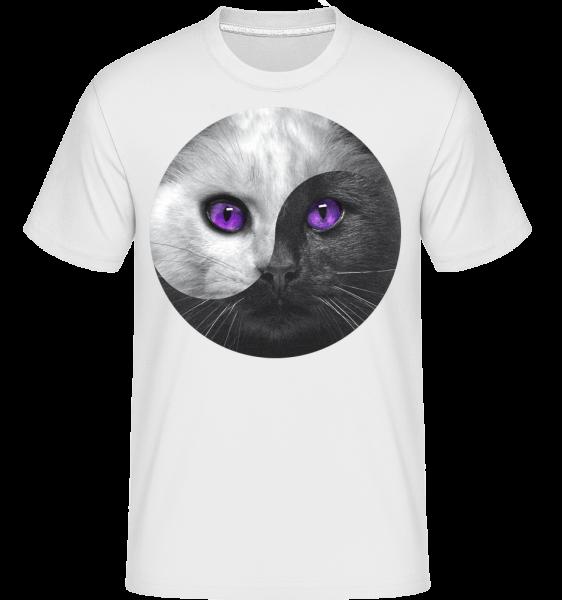 Yin Und Yang Katze - Shirtinator Männer T-Shirt - Weiß - Vorn