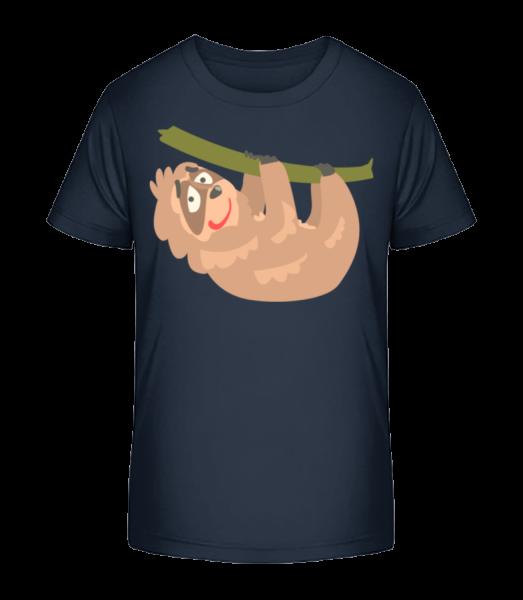 Entspanntes Faultier - Kinder Premium Bio T-Shirt - Marine - Vorn
