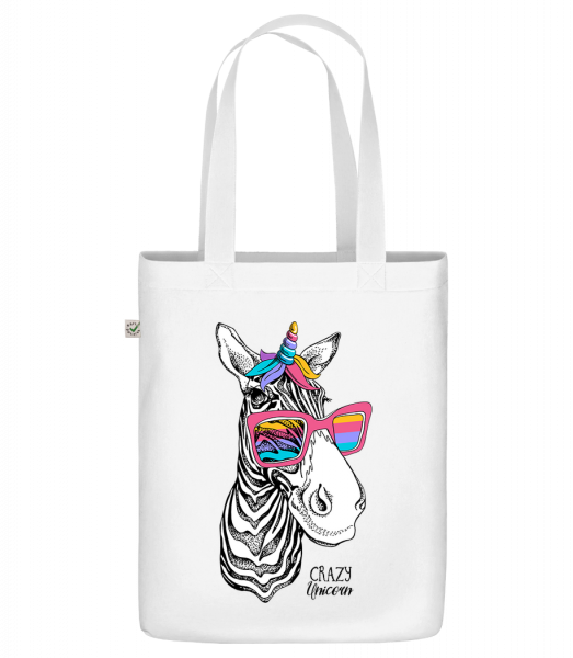 "Crazy Unicorn - Organic ""Earth Positive"" tote bag - White - Front"