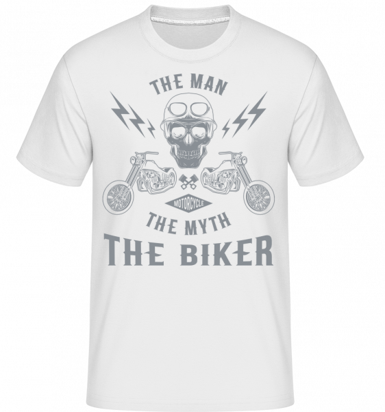 The Man The Myth The Biker - Shirtinator Männer T-Shirt - Weiß - Vorn