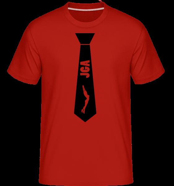 Krawatte JGA Stripperin - Shirtinator Männer T-Shirt - Rot - Vorn