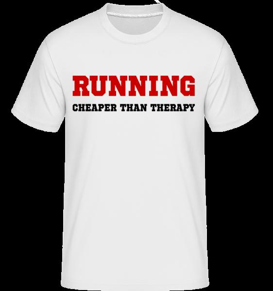 Running - Cheaper Than Therapy -  Shirtinator Men's T-Shirt - White - Vorn