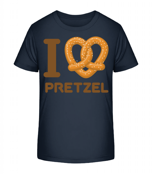 I Love Pretzel - Kinder Premium Bio T-Shirt - Marine - Vorn