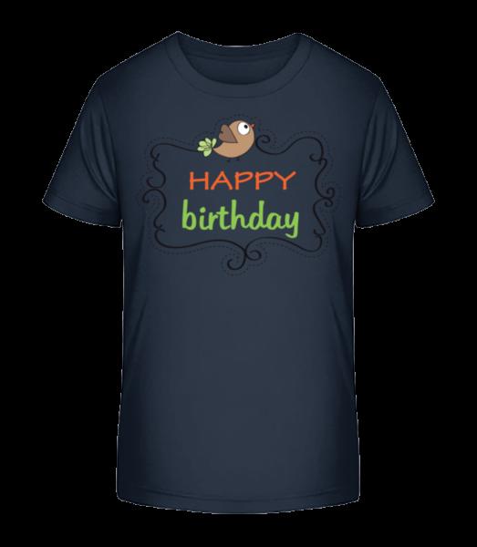Happy Birthday Bird - Kid's Premium Bio T-Shirt - Navy - Front