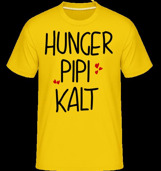 Hunger Pipi Kalt - Shirtinator Männer T-Shirt - Goldgelb - Vorn