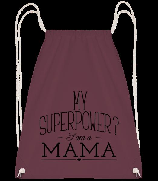 Superpower Mama - Drawstring Backpack - Bordeaux - Vorn
