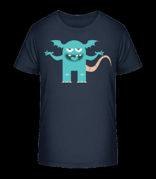 Lustiges Monster - Kinder Premium Bio T-Shirt - Marine - Vorn