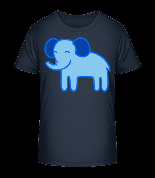 Kinder Comic - Elefant - Kinder Premium Bio T-Shirt - Marine - Vorn