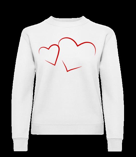 Hearts - Classic Ladies' Set-In Sweatshirt - White - Vorn