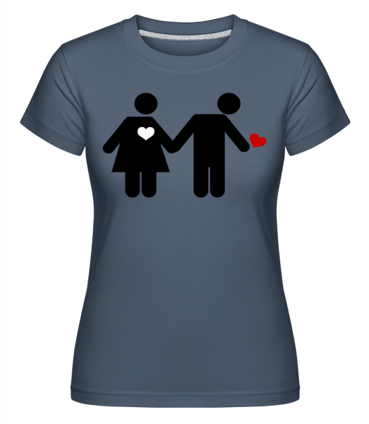 Frau Und Mann Mit Herz Logo - Shirtinator Frauen T-Shirt - Denim - Vorn