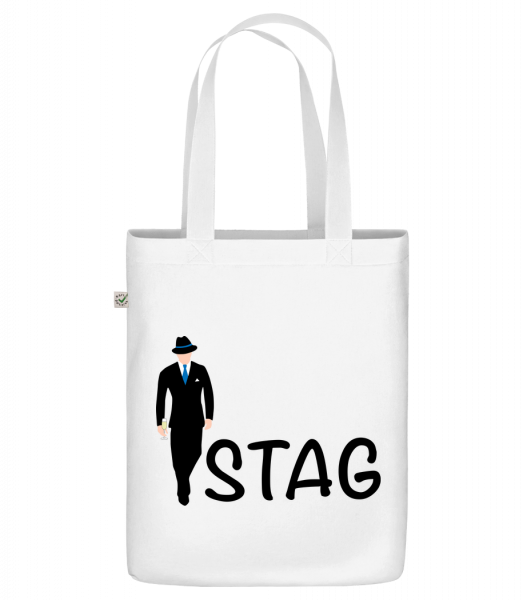 """Stag - Organic """"Earth Positive"""" tote bag - White - Front"""