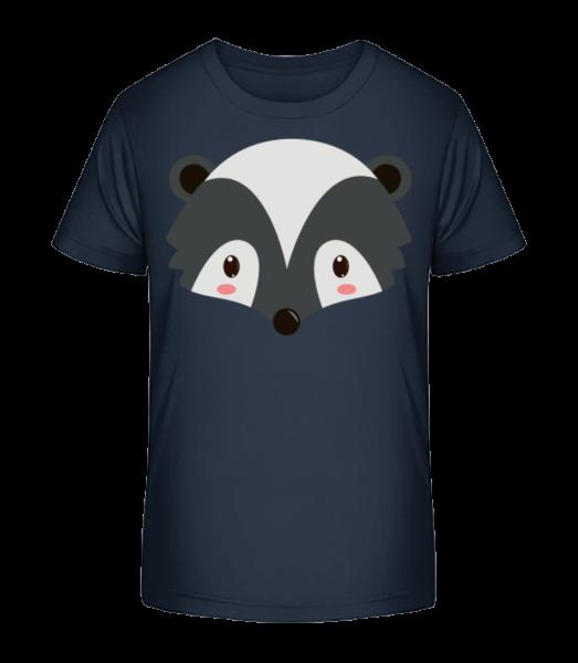 Waschbär Comic - Kinder Premium Bio T-Shirt - Marine - Vorn