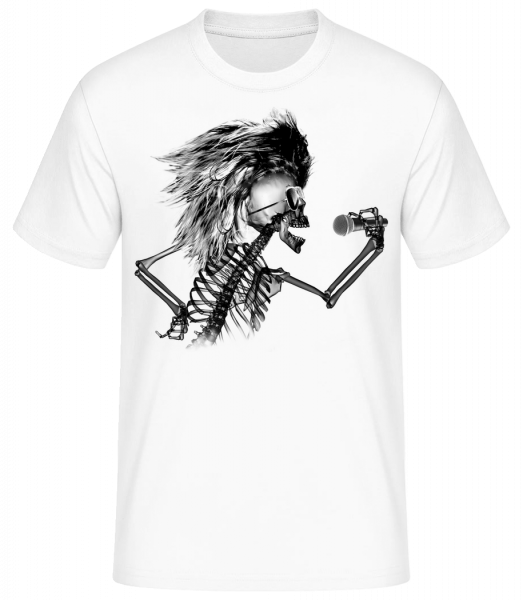 Singing Skeleton - Men's Basic T-Shirt - White - Front