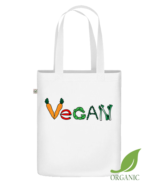 "Vegan Comic - Organic ""Earth Positive"" tote bag - White - Vorn"