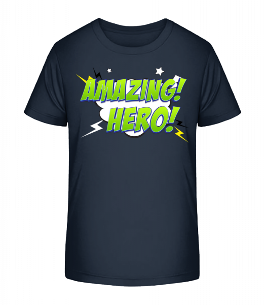 Amazing Hero Icon - Kinder Premium Bio T-Shirt - Marine - Vorn