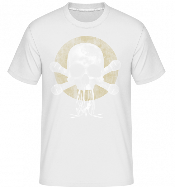 Skull With Microphones -  Shirtinator Men's T-Shirt - White - Vorn