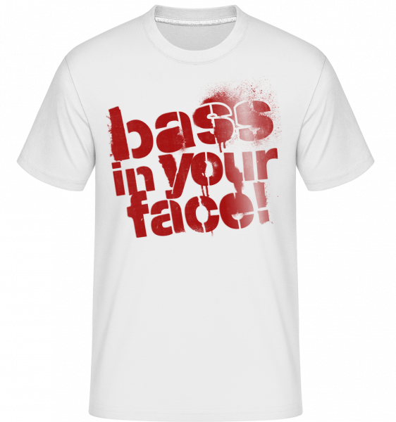 Bass In Your Face -  Shirtinator Men's T-Shirt - White - Vorn