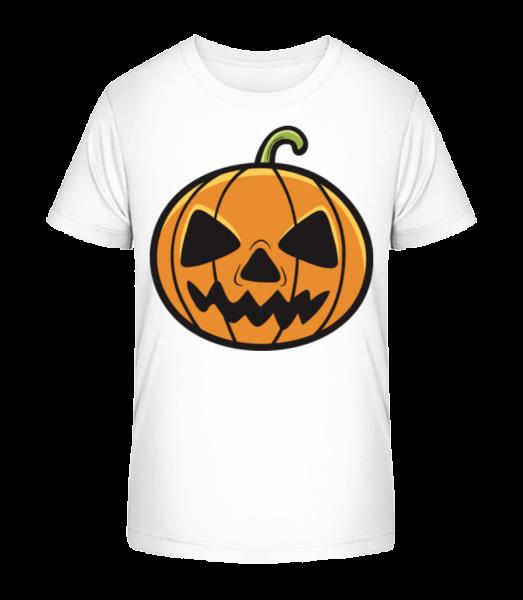 Halloween Kürbis - Kinder Premium Bio T-Shirt - Weiß - Vorn