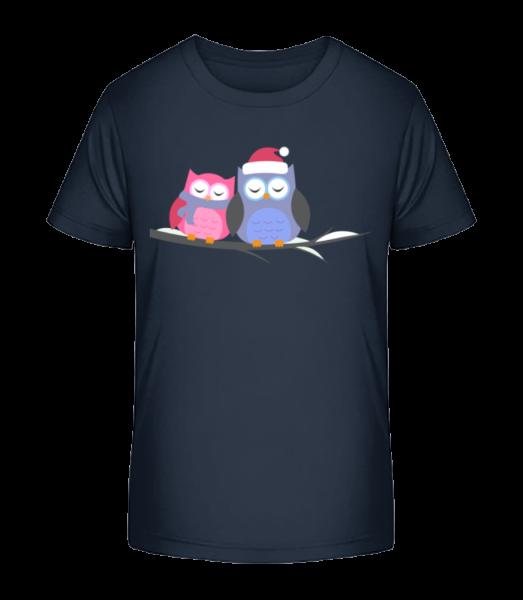 Christmas Owls - Kid's Premium Bio T-Shirt - Navy - Front