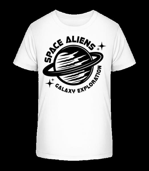 Space Aliens Galaxy Exploration - Kid's Premium Bio T-Shirt - White - Front
