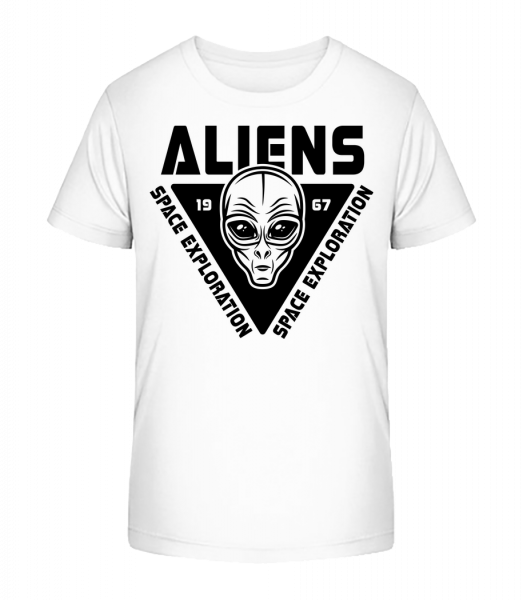 Aliens Space Exploration - Kid's Premium Bio T-Shirt - White - Front