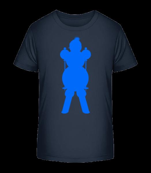 Ski Snowman Blue - Kinder Premium Bio T-Shirt - Marine - Vorn