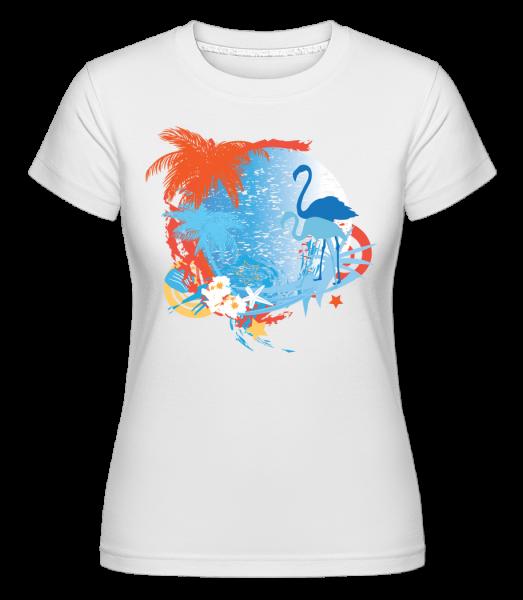 Flamingos In Paradise Blue/Orang -  Shirtinator Women's T-Shirt - White - Vorn
